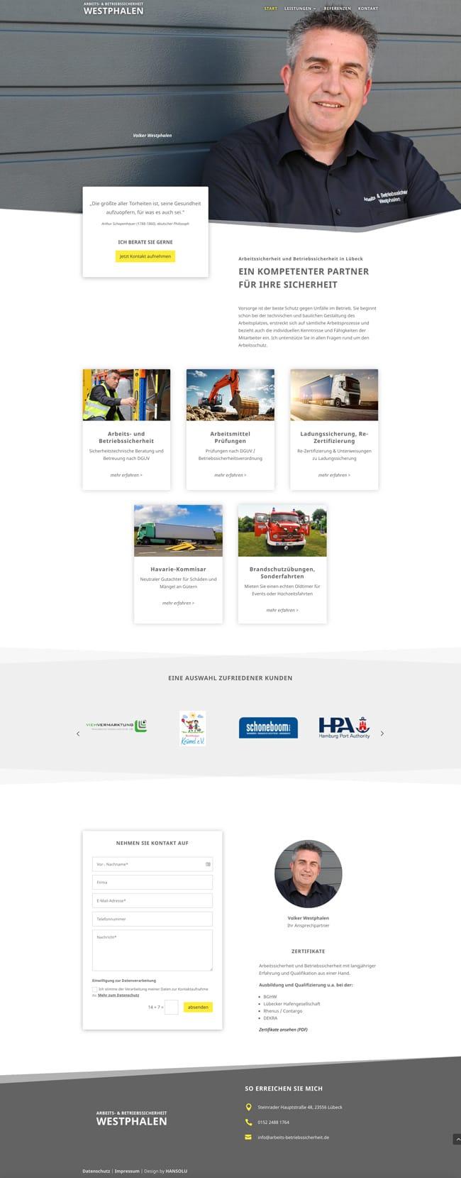Moderne Webdesign für Berater / Neue Website für Arbeitssicherheit Westphalen