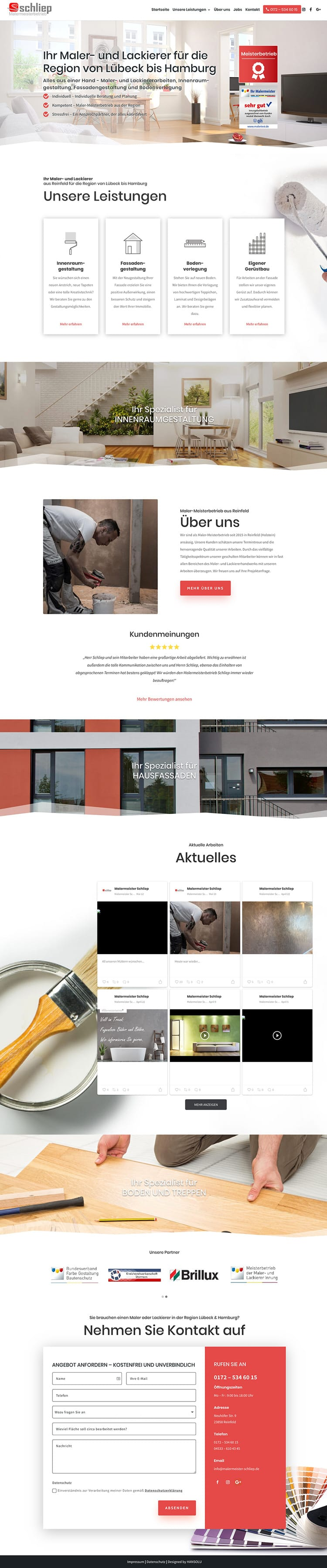 Moderne Website für Handwerker / Screenshot Website