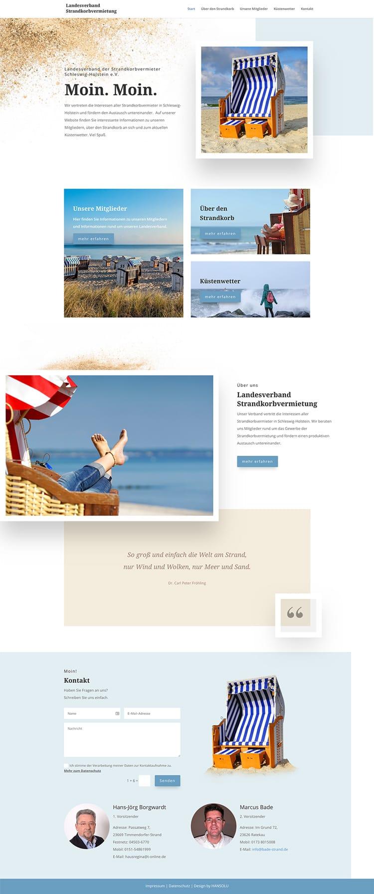 Webdesign für Vereine - LV der Strandkorbvermieter