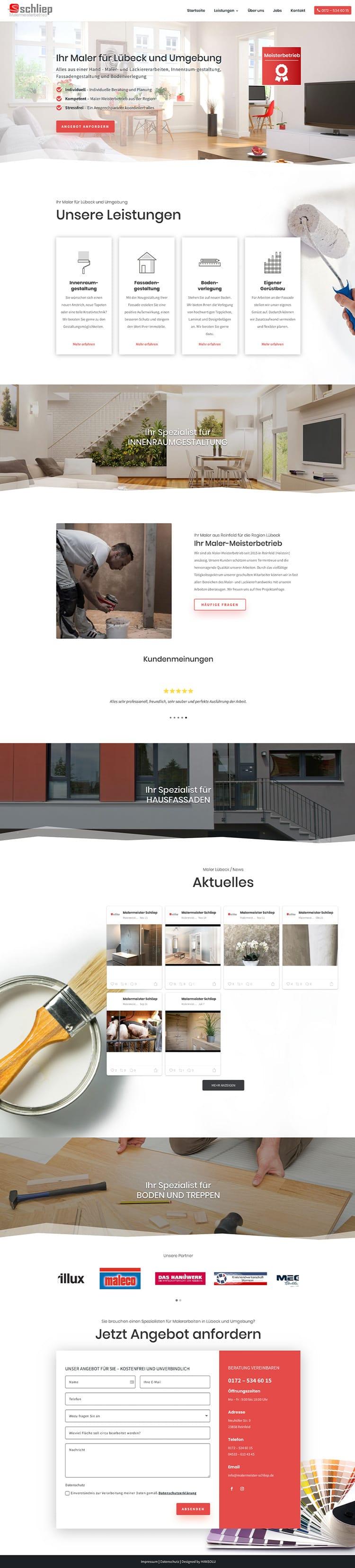 Moderne Website für Handwerker / Screenshot Website