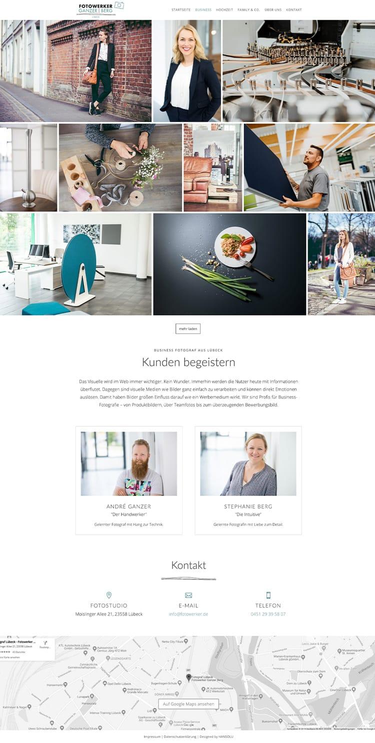 Portfolio Website Design für Fotografen