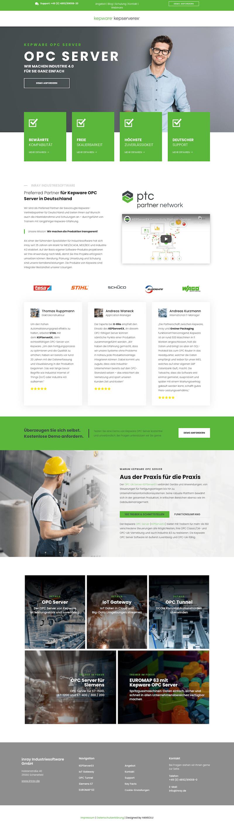 Webseiten für die Produktpräsentation